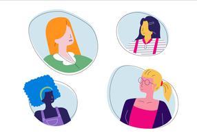 Femmes tête personnage couleur de la peau ton vecteur plat Illustration