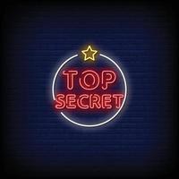 vecteur de texte de style néon top secret