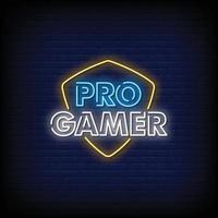 vecteur de texte de style de signes au néon gamer pro