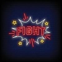 combattre le vecteur de texte de style enseignes au néon
