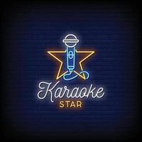 karaoké star néon signe style texte vecteur