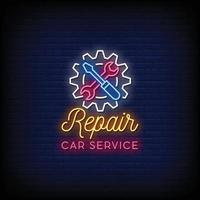 réparation voiture service néon signe style texte vecteur