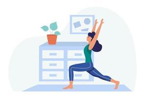 une jeune femme fait du yoga à la maison.le concept de la vie quotidienne, des loisirs quotidiens et des activités professionnelles. illustration vectorielle de dessin animé plat. vecteur
