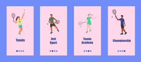 modèle d'application mobile de tennis. les jeunes jouent au tennis. concept d'école de tennis, de compétition ou de championnat. illustration vectorielle plane. vecteur