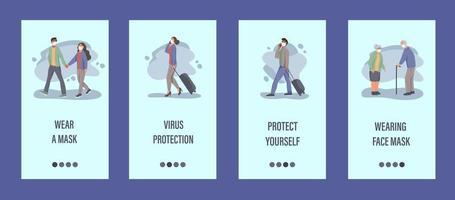 les gens portent des masques modèle d'application mobile. concept de contrôle épidémique, pollution de l'air, covid-19. illustration vectorielle plane. vecteur