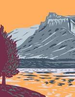 La rivière Missouri supérieure brise le monument national dans l'ouest des États-Unis protégeant les ruptures du Missouri du centre-nord du montana art de l'affiche vecteur