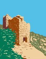Les tours jumelles font partie du groupe de la tour carrée à Hovenweep National Monument situé sur un terrain dans le Colorado et l'Utah art de l'affiche wpa vecteur