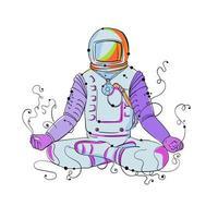Doodle de position de cosmonaute padmasana vecteur