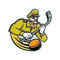 mascotte générale de hockey sur glace de l'armée vecteur