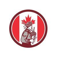 Logo de joueur de cornemuse écossais avec drapeau du canada vecteur