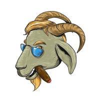 conception de dessin de cigare fumant de chèvre hanche vecteur