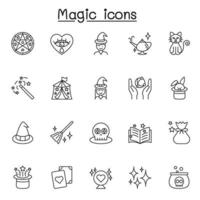 ensemble d'icônes de ligne vectorielles liées à la magie. contient des icônes telles que la clairvoyance, le magicien, la sorcière, la baguette, le livre de sorts, l'effet et plus