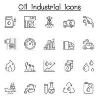icônes industrielles de pétrole définies dans un style de ligne mince vecteur