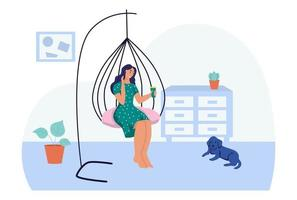 une jeune femme est assise sur une chaise cocon suspendue. le concept de la vie quotidienne, des loisirs quotidiens et des activités professionnelles. illustration vectorielle de dessin animé plat. vecteur