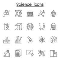 icône de la science dans le style de ligne mince vecteur