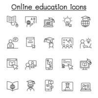 icône de l & # 39; éducation en ligne dans un style de ligne mince vecteur