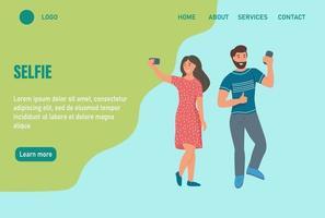 couple prenant un modèle de page Web de destination pour selfies vecteur