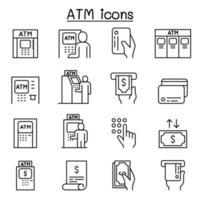 icônes atm définies dans un style de ligne mince vecteur