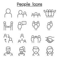 icône de personnes définie dans un style de ligne mince vecteur