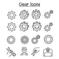 Engrenage, réparation, entretien, icône de réparateur dans le style de ligne mince vecteur