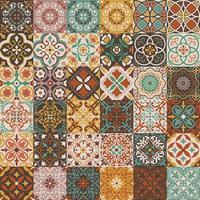 tuiles vectorielles géométriques et florales décoratives ornées vecteur