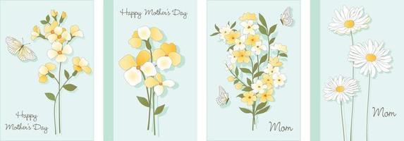 cartes de fête des mères avec des fleurs botaniques et des papillons vecteur