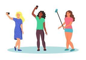 jeunes femmes prenant des selfies vecteur