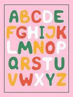 alphabet anglais mignon dessiné à la main. vecteur