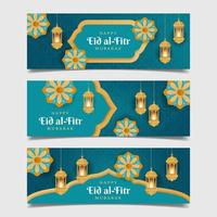 joyeux eid al-fitr bannière ensemble vecteur