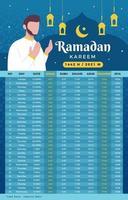 calendrier de jeûne ramadan kareem vecteur