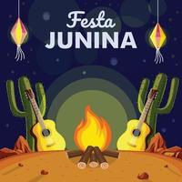 Célébration de junina festa la nuit vecteur