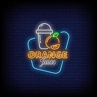vecteur de texte de style néon de jus d & # 39; orange