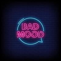 vecteur de texte de style néon de mauvaise humeur