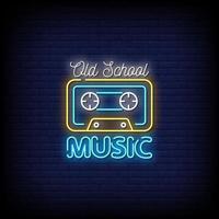 vecteur de signes de néon de musique old school
