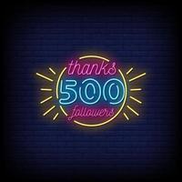 merci 500 abonnés vecteur de texte de style enseignes au néon