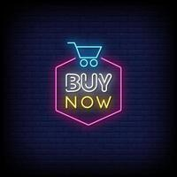 acheter maintenant vecteur de texte de style enseignes au néon