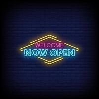 bienvenue maintenant ouvert vecteur de texte de style enseignes au néon