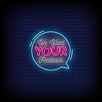 nous voulons votre rétroaction vecteur de texte de style néon