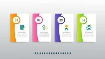 modèle infographique moderne avec flux de travail en 4 étapes vecteur