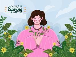 jeune femme se détendre et profiter du printemps en apportant un bouquet de fleurs. joyeuses saisons de printemps. Bienvenue au printemps. personnes appréciant le printemps dans la forêt ou le parc avec une fleur florale et belle. convient pour carte de voeux, carte postale, invitation, bannière, flyer. vecteur