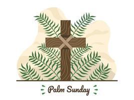 joyeux dimanche des palmiers avec croix chrétienne et feuilles de palmier. fête religieuse chrétienne du dimanche des palmiers avec des branches de palmier et une croix en bois. convient pour carte de voeux, invitation, bannière, flyer, affiche. vecteur