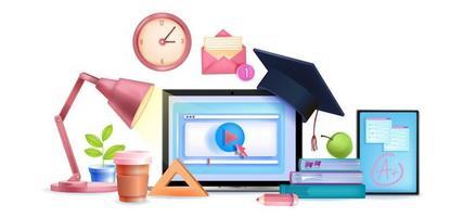 éducation en ligne vecteur e-learning classes numériques concept 3d