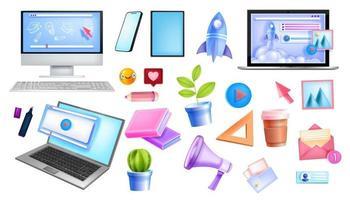 éducation en ligne, réseau indépendant Internet, collection de vecteurs de bureau à domicile vecteur
