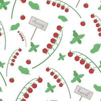 fond avec des tomates et des tomates cerises, basilic pour une utilisation de conception dans les emballages alimentaires. modèle sans couture de cerise. illustration vectorielle. vecteur