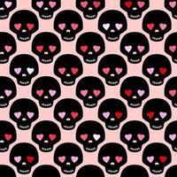 crâne noir avec des yeux comme un cœur. modèle sans couture romantique drôle. motif pour la conception de tissu ou de papier d'emballage. vecteur