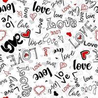 illustration avec des coeurs avec les mots amour. motif romantique sans soudure. vecteur