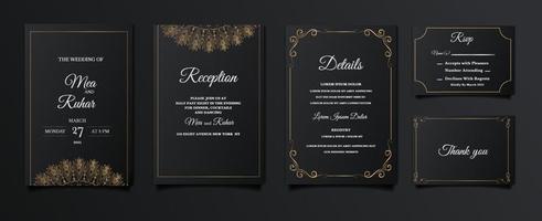 set collection élégant enregistrer la carte d'invitation de mariage date vecteur