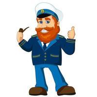 mascotte de dessin animé de personnage de capitaine de la marine, vieux marin rousse, skipper souriant, fumant la pipe en uniforme, avec le pouce vers le haut. vecteur