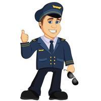 Personnage de mascotte de dessin animé de capitaine de l'aviation pilote. vecteur