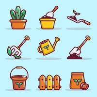 collection d'icônes de jardinage écologique vecteur